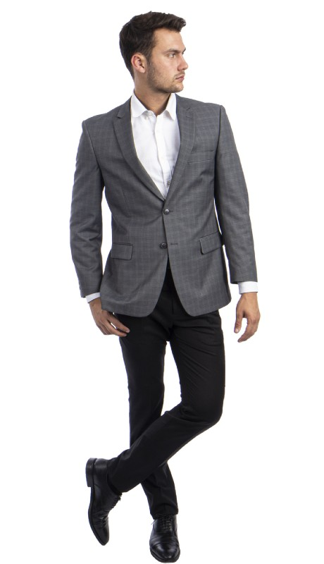 MJ298S-02 ( 1pc Mens Two Button Notch Lapel Modern Fit Windowpane Jacket With One Chest Pocket And Two Front Pocket )