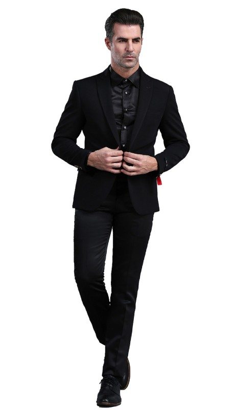 MJ300S-01 ( 1pc Mens Two Button Notch Lapel  Skinny Fit Dacron Viscose Blazer With Two Front Pocket )