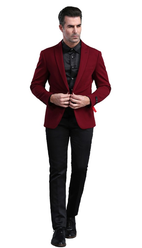 MJ300S-02 ( 1pc Mens Two Button Notch Lapel  Skinny Fit Dacron Viscose Blazer With Two Front Pocket )