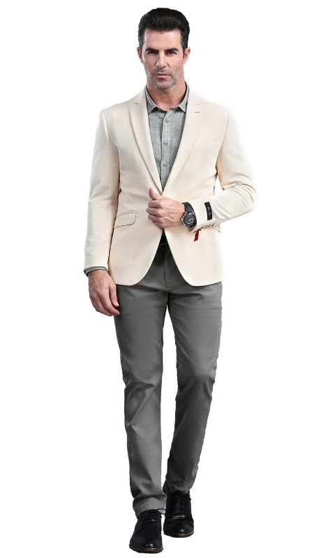 MJ300S-03 ( 1pc Mens Two Button Notch Lapel  Skinny Fit Dacron Viscose Blazer With Two Front Pocket )
