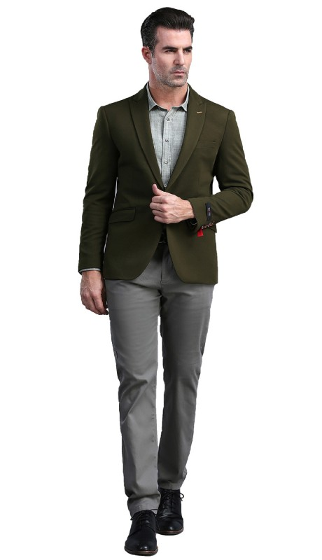 MJ300S-04 ( 1pc Mens Two Button Notch Lapel  Skinny Fit Dacron Viscose Blazer With Two Front Pocket )
