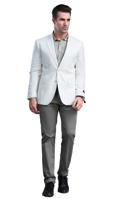 MJ300S-05 ( 1pc Mens Two Button Notch Lapel  Skinny Fit Dacron Viscose Blazer With Two Front Pocket )