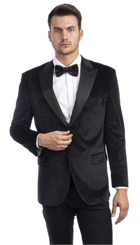 MJ301S-01 ( 1pc Mens Two Button Notch Lapel Slim Fit Solid Velvet Blazer With One Chest Pocket And Two Front Pocket Closure )