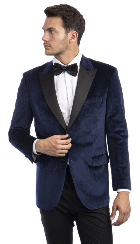 MJ301S-02 ( 1pc Mens Two Button Notch Lapel Solid Velvet Blazer With One Chest Pocket And Two Front Pocket Closure )