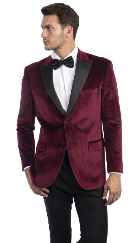 MJ301S-03 ( 1pc Mens Two Button Notch Lapel Solid Velvet Blazer With One Chest Pocket And Two Front Pocket Closure )