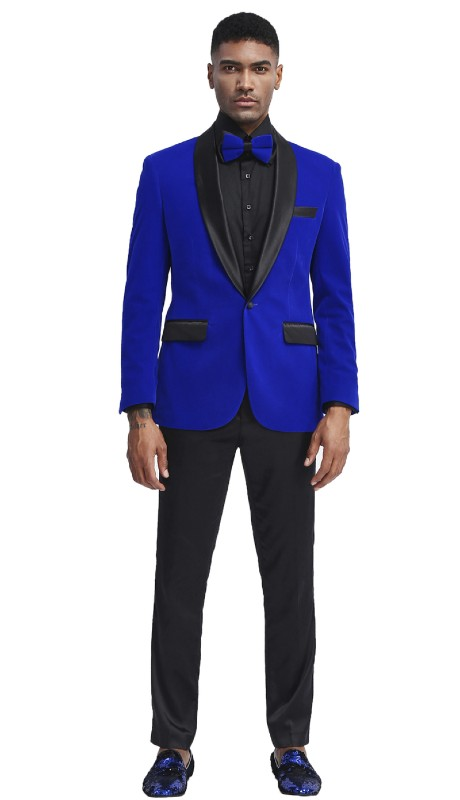 MJ302S-01 ( 1pc Mens Two Button Notch Lapel Solid Velvet Blazer With One Chest Pocket And Two Front Pocket Closure )