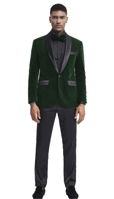 MJ302S-02 ( 1pc Mens Two Button Notch Lapel Solid Velvet Blazer With One Chest Pocket And Two Front Pocket Closure )