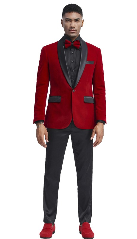 MJ302S-03 ( 1pc Mens Two Button Notch Lapel Solid Velvet Blazer With One Chest Pocket And Two Front Pocket Closure )