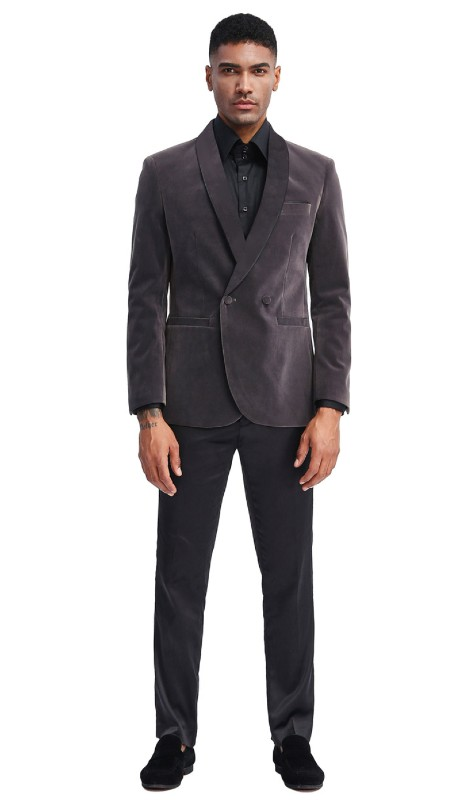MJ303S-01 ( 1pc Mens Two Button Notch Lapel Solid Velvet Blazer With One Chest Pocket And Two Front Pocket Closure )