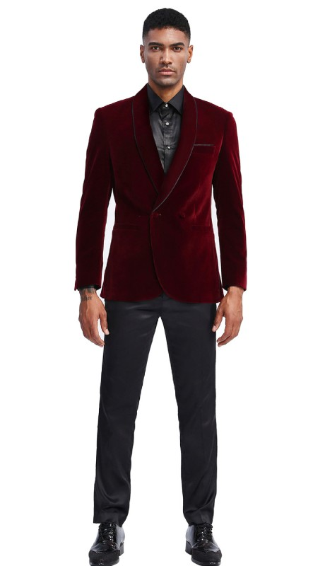 MJ303S-02 ( 1pc Mens Two Button Notch Lapel Solid Velvet Blazer With One Chest Pocket And Two Front Pocket Closure )