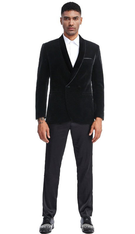 MJ303S-03 ( 1pc Mens Two Button Notch Lapel Solid Velvet Blazer With One Chest Pocket And Two Front Pocket Closure )