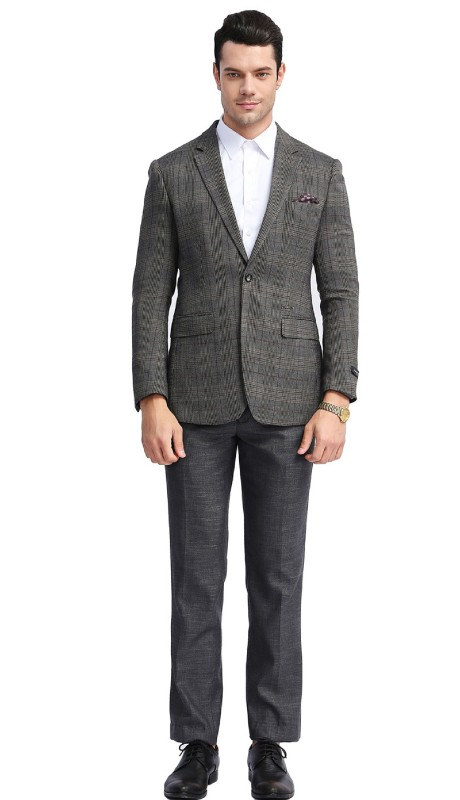 MJ305S-01 ( 1pc Mens Two Button Notch Lapel Slim Fit Glen Plaid Jacket With One Chest Pocket And Two Front Pocket )