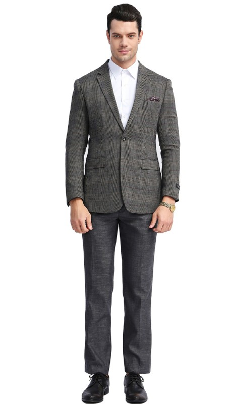 MJ305S-02 ( 1pc Mens Two Button Notch Lapel Slim Fit Glen Plaid Jacket With One Chest Pocket And Two Front Pocket )