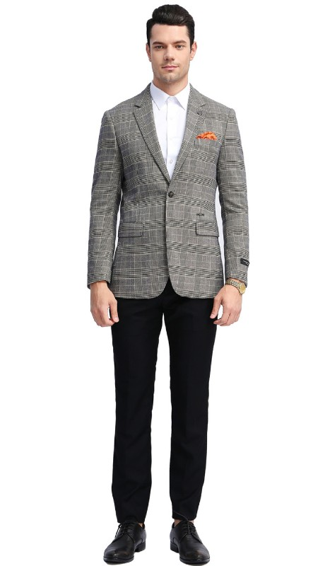 MJ305S-03 ( 1pc Mens Two Button Notch Lapel Slim Fit Glen Plaid Jacket With One Chest Pocket And Two Front Pocket )