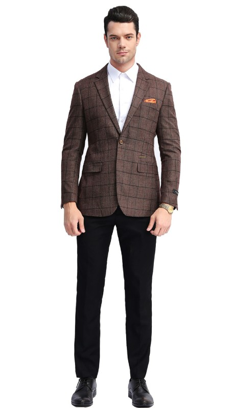 MJ306-03 ( 1pc Mens Two Button Notch Lapel slim Fit Checker Plaid Jacket With One Chest Pocket And Two Front Pocket )