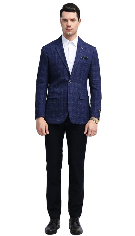 MJ307S-02 ( 1pc Mens Two Button Notch Lapel slim Fit Checker Plaid Jacket With One Chest Pocket And Two Front Pocket )
