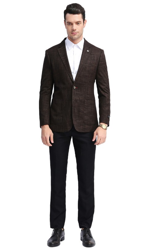 MJ308S-01 ( 1pc Mens Two Button Notch Lapel slim Fit Checker Plaid Jacket With One Chest Pocket And Two Front Pocket )
