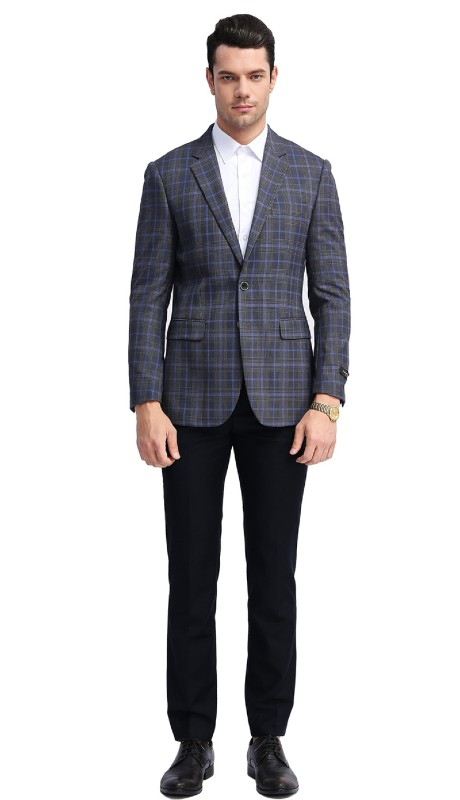MJ309S-01 ( 1pc Mens Two Button Notch Lapel slim Fit Checker Plaid Jacket With One Chest Pocket And Two Front Pocket )