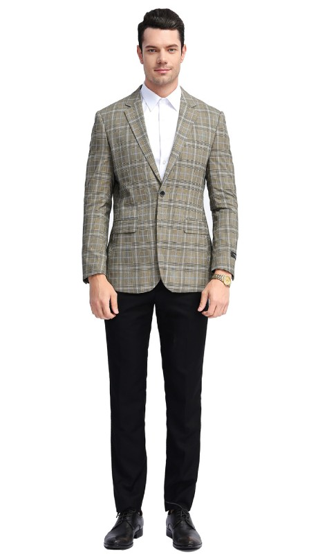 MJ309S-02 ( 1pc Mens Two Button Notch Lapel slim Fit Checker Plaid Jacket With One Chest Pocket And Two Front Pocket )
