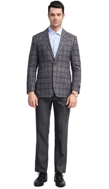 MJ309S-03 ( 1pc Mens Two Button Notch Lapel slim Fit Checker Plaid Jacket With One Chest Pocket And Two Front Pocket )