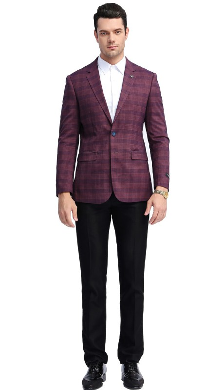 MJ309S-04 ( 1pc Mens Two Button Notch Lapel slim Fit Checker Plaid Jacket With One Chest Pocket And Two Front Pocket )