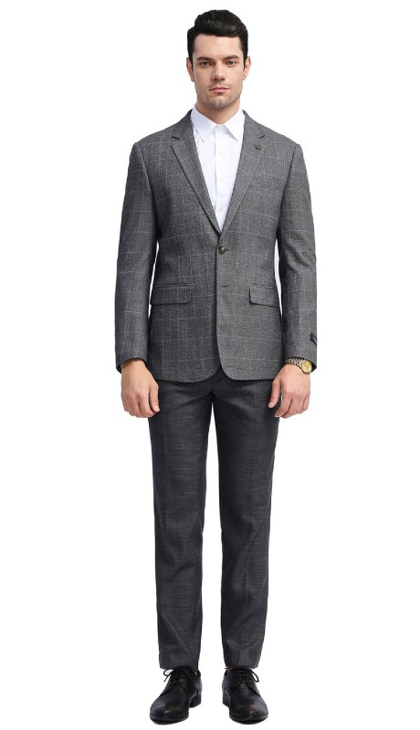 MJ310S-02 ( 1pc Mens Two Button Notch Lapel slim Fit Checker Plaid Jacket With One Chest Pocket And Two Front Pocket )