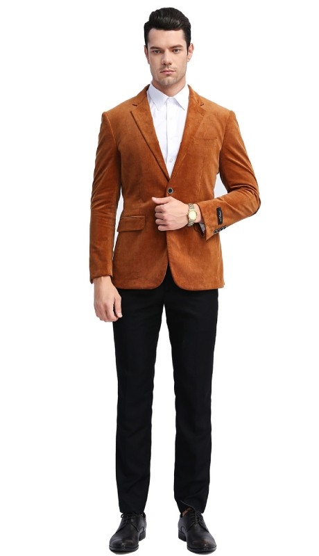 MJ311-02 ( 1pc Mens Two Button Notch Lapel slim Fit Solid Jacket With One Chest Pocket And Two Front Pocket )