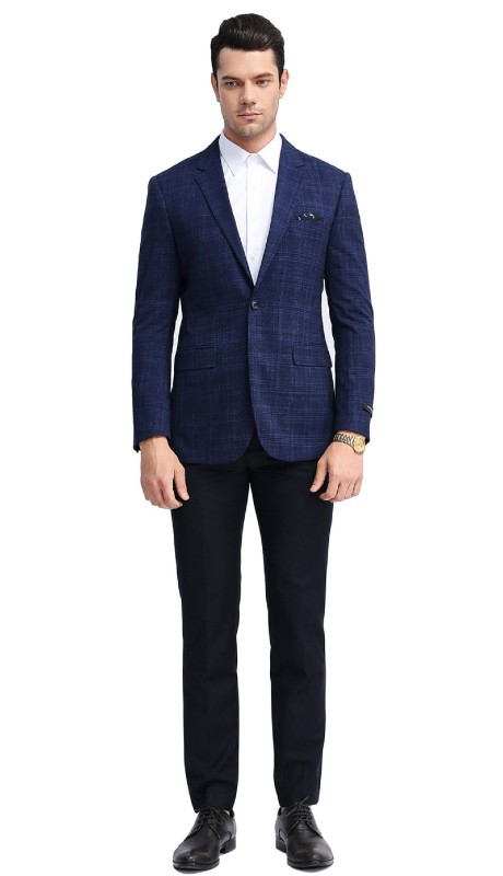 MJ312S-01 ( 1pc Mens Two Button Notch Lapel Glen Plaid Jacket With One Chest Pocket And Two Front Pocket )