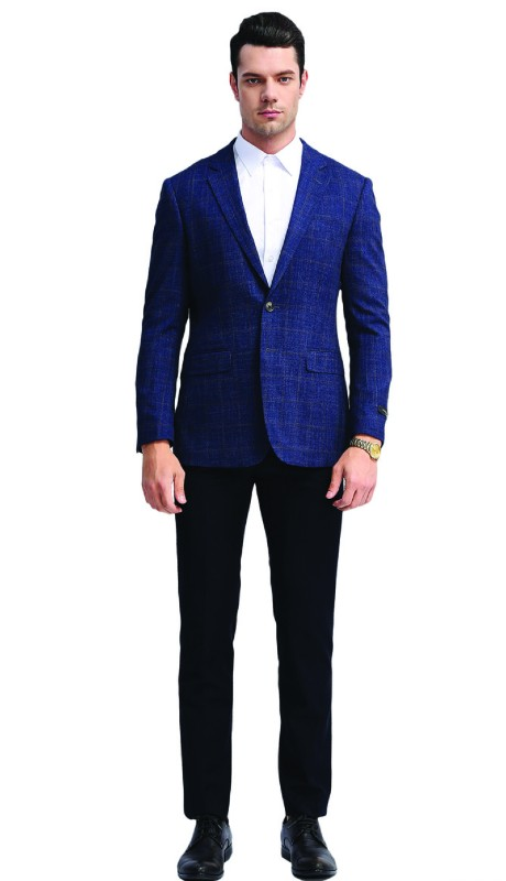 MJ313S-01 ( 1pc Mens Two Button Notch Lapel slim Fit Window Pane Jacket With One Chest Pocket And Two Front Pocket )