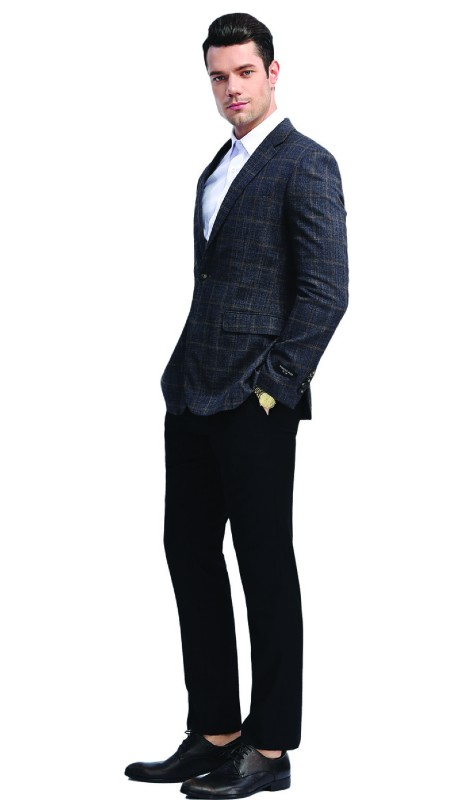 MJ313S-02 ( 1pc Mens Two Button Notch Lapel Window Pane Jacket With One Chest Pocket And Two Front Pocket )