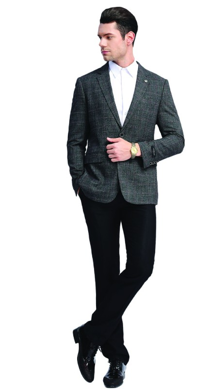 MJ313S-03 ( 1pc Mens Two Button Notch Lapel slim Fit Window Pane Jacket With One Chest Pocket And Two Front Pocket )