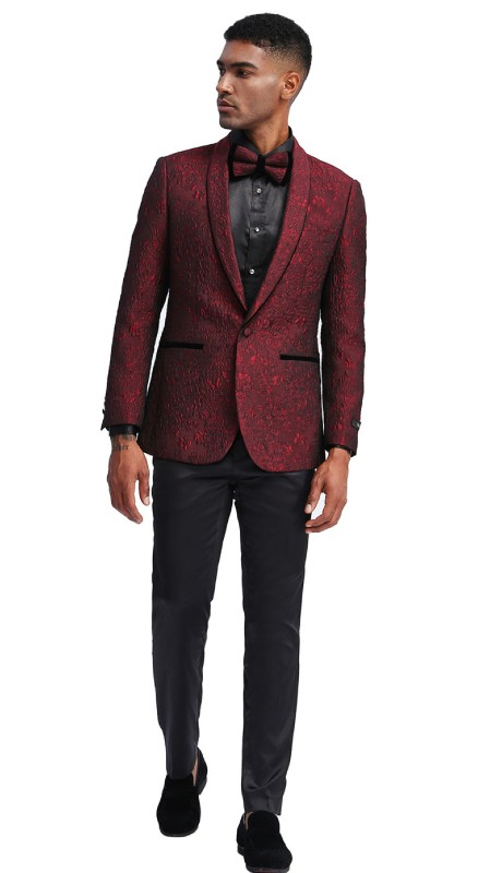 MJ332S-01 ( 1pc Mens One Button Shawl Collar Pattern Jacket With One Chest Pocket And Two Front Pocket )
