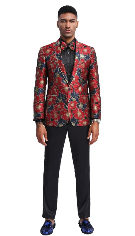 MJ334S-01 ( 1pc Mens One Button Shawl Collar Floral Pattern Jacket With One Chest Pocket And Two Front Pocket )