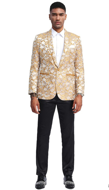 MJ335S-02 ( 1pc Mens One Button Shawl Collar Slim Fit Floral Pattern Jacket With One Chest Pocket And Two Front Pocket )