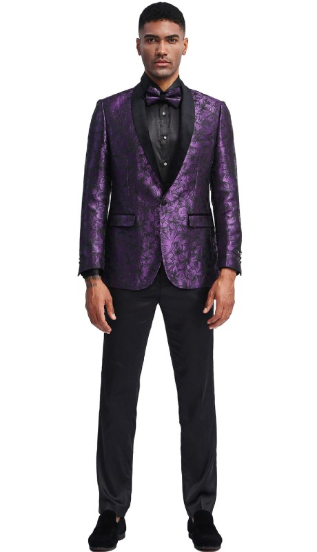 MJ336S-01 ( 1pc Mens Two Button Shawl Collar Slim Fit Floral Pattern Jacket With One Chest Pocket And Two Front Pocket )