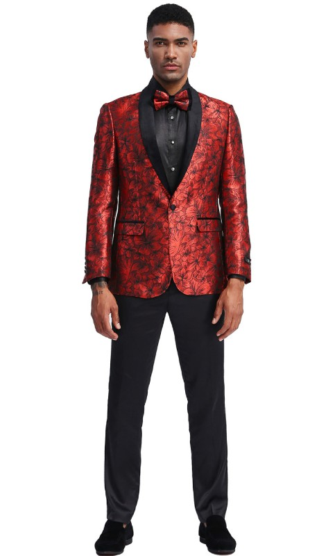 MJ336S-02 ( 1pc Mens Two Button Shawl Collar Floral Pattern Jacket With One Chest Pocket And Two Front Pocket )