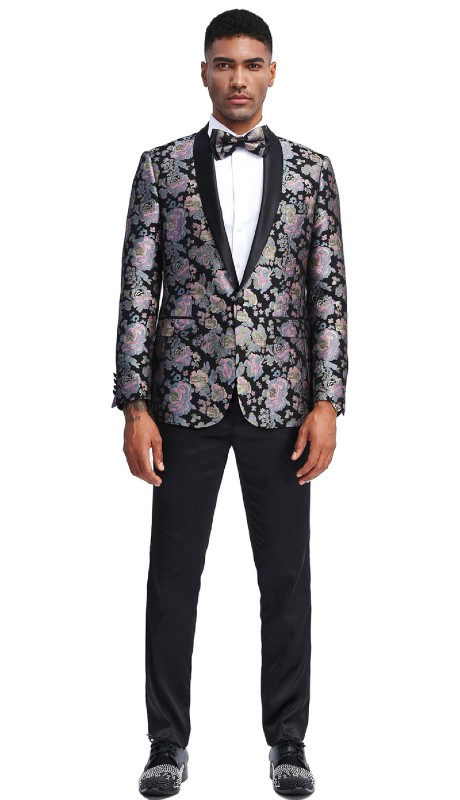 MJ337S-01 ( 1pc Mens Two Button Shawl Collar Slim Fit Floral Pattern Jacket With One Chest Pocket And Two Front Pocket )