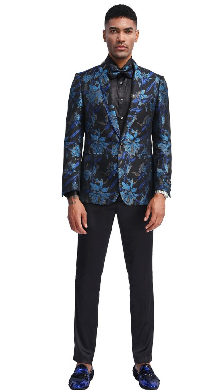 MJ338S-01 ( 1pc Mens Two Button Shawl Collar Slim Fit Floral Pattern Jacket With One Chest Pocket And Two Front Pocket )