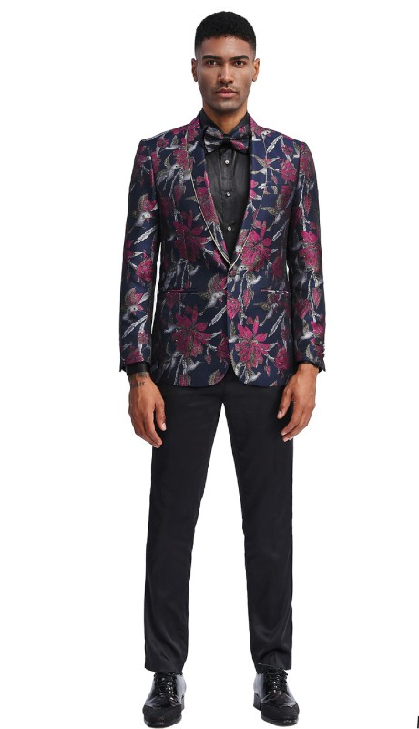 MJ338S-02 ( 1pc Mens Two Button Shawl Collar Slim Fit Floral Pattern Jacket With One Chest Pocket And Two Front Pocket )