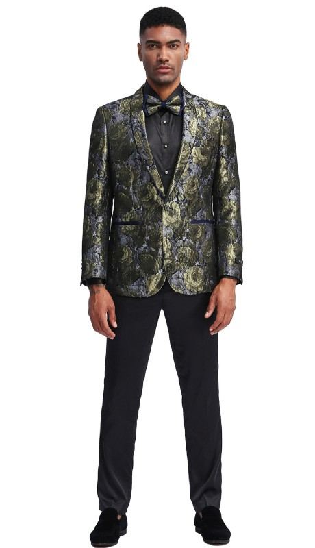 MJ339S-01 ( 1pc Mens Two Button Shawl Collar Slim Fit Floral Pattern Jacket With One Chest Pocket And Two Front Pocket )