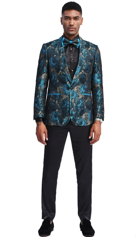 MJ339S-02 ( 1pc Mens Two Button Shawl Collar Slim Fit Floral Pattern Jacket With One Chest Pocket And Two Front Pocket )