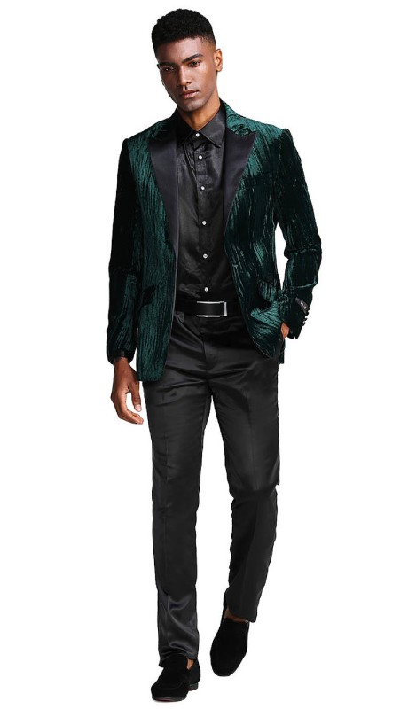 Mj285-01 ( 1pc Mens One Button Satin Peak Lapel Slim Fit Velvet Jacket With One Chest Pocket )