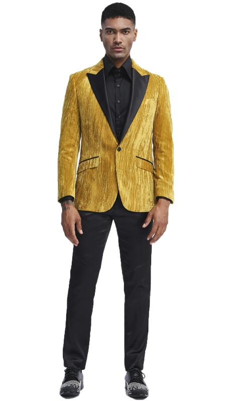 Mj285-03 ( 1pc Mens One Button Satin Peak Lapel Velvet Jacket With One Chest Pocket )