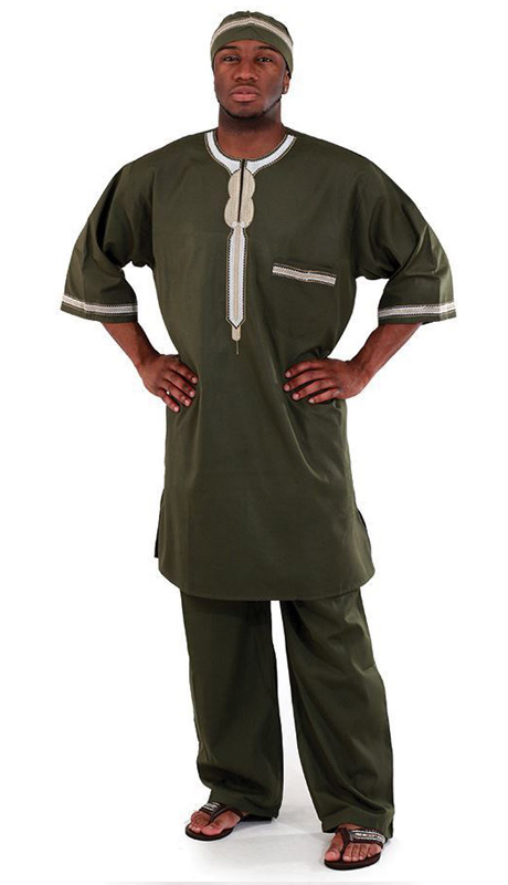 Essence Collection C-M083-GRE ( Popular 3pc mens garment. Loose fitting and comfortable. Comes with a top with buttons at the top, pants and kufi. 100% cotton. )