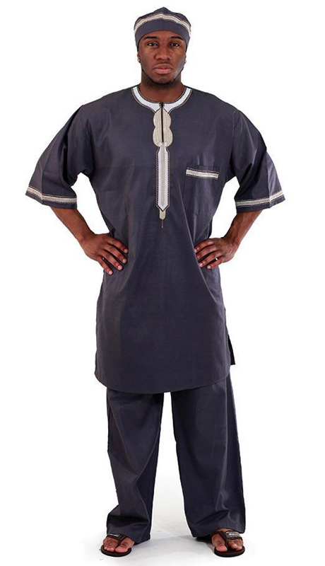 Essence Collection C-M083-SB ( Popular 3pc mens garment. Loose fitting and comfortable. Comes with a top with buttons at the top, pants and kufi. 100% cotton. )