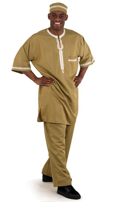 Essence Collection C-M083-TAN ( Popular 3pc mens garment. Loose fitting and comfortable. Comes with a top with buttons at the top, pants and kufi. 100% cotton.  )