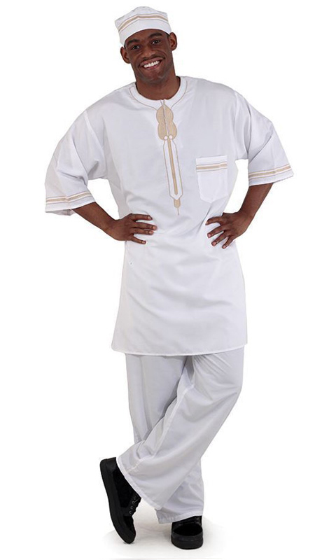 Essence Collection C-M083-WH ( Popular 3pc mens garment. Loose fitting and comfortable. Comes with a top with buttons at the top, pants and kufi. 100% cotton. )