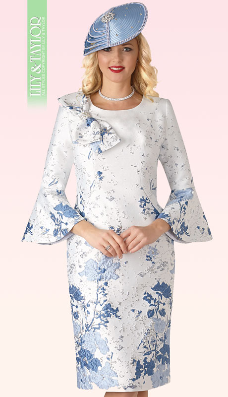 Lily And Taylor 4356-WB-IH ( 1pc Novelty Womens Church Dress With Embroidery Pattern Bow Tie Trim And Flared Sleeves )