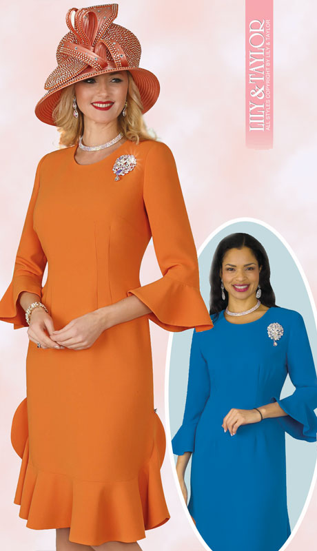 Lily And Taylor 4353-OR ( 1pc Ladies PeachSkin Church Dress With Ruffled Hem And Flared Sleeves With Jeweled Brooch )