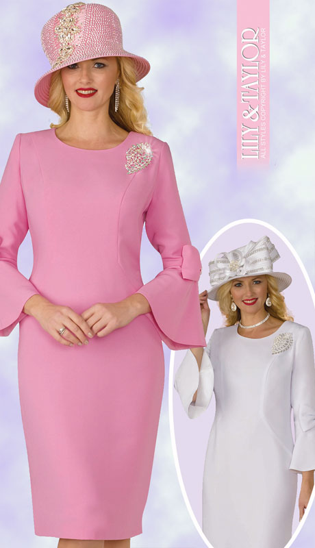 Lily And Taylor 4154-PI-IH ( 1pc Ladies PeachSkin Sunday Dress With Flared Sleeves Bow Trim And Jeweled Brooch )